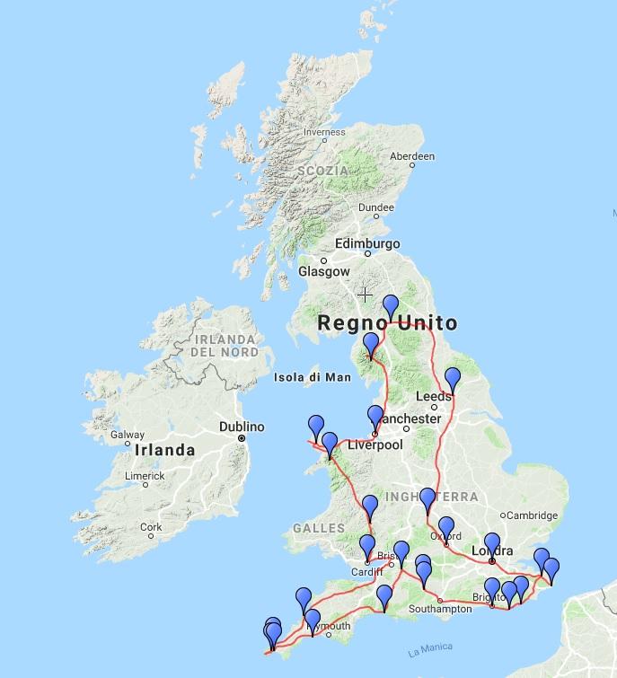 Mappa del nostro viaggio on the road tra Inghilterra e Galles
