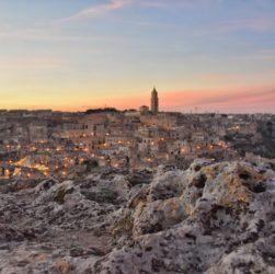 Tramonto sulla città di Matera